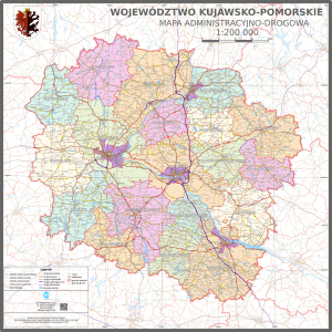 Mapa administracyjno-drogowa województwa